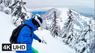 🔥 4K Drone | Extreme Freeride Snowboarding, Backcountry, Powder Riding & Turns | POV & Selfie | UHD
