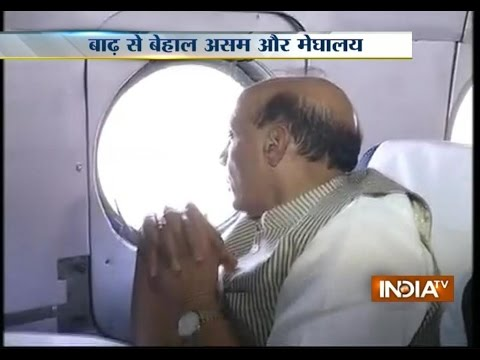 Rajnath Singh reviews situation at Assam flood affected areas