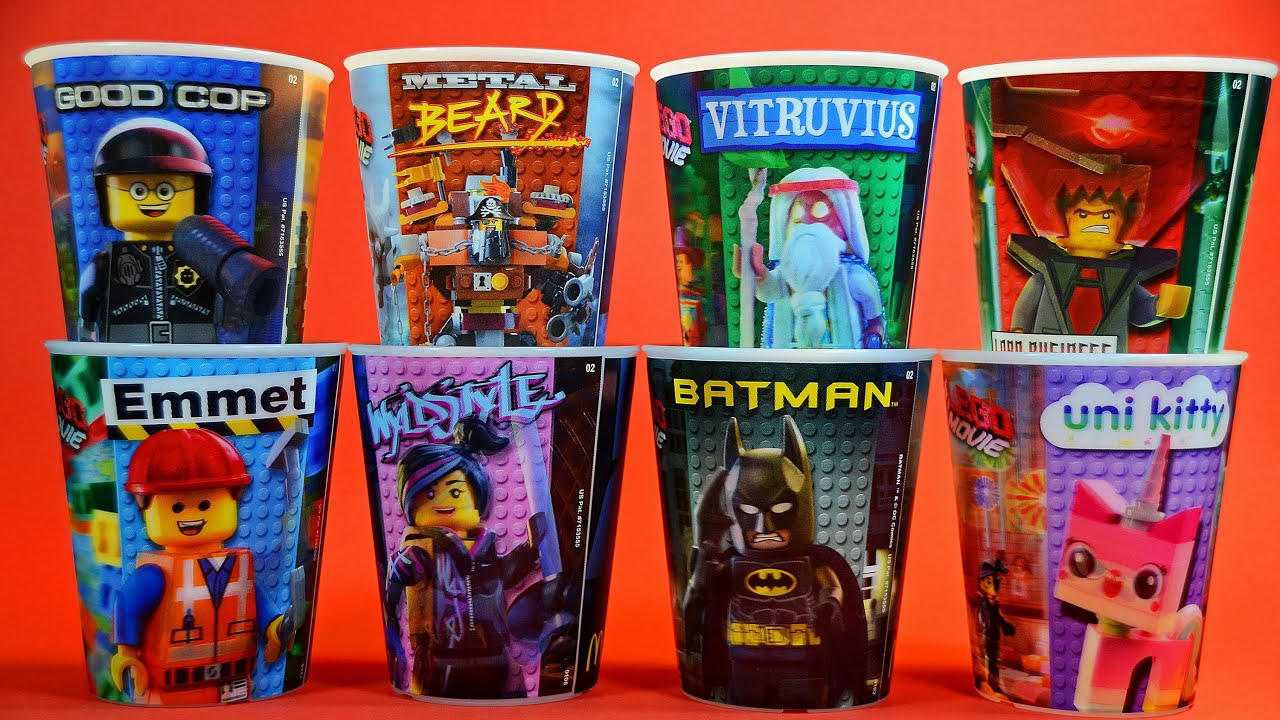 LEGO Movie 3D Action Cups Set of 8 McDonald's Happy Meal ...