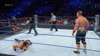 WWE smackdown live aj styles et the miz vs dean ambrose et john cena