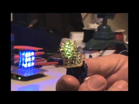Tiny 3x3x3 LED Green Cube TinyDuino #adafruit6secs