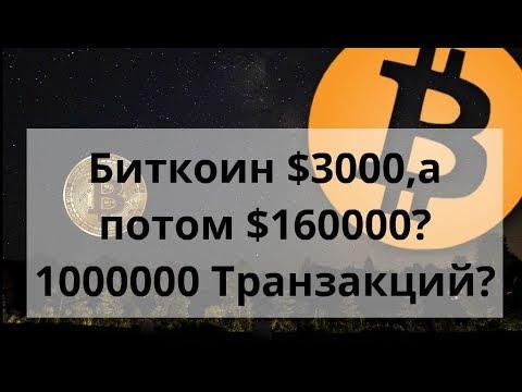 Биткоин $3000 ,а потом $160000 ?1000000 транзакций. Курс Bitcoin к доллару.