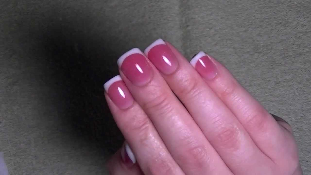 Pink Acrylic White Tip Nails Pink White For Short Nails