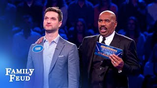 196 points! Todd Kapostasy's UNBELIEVABLE Fast Money! | Celebrity Family Feud