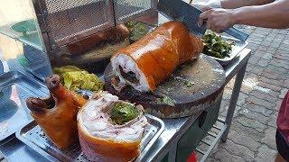 Đi câu cá vào quán nhậu gặp cao thủ chặt thịt lợn quay