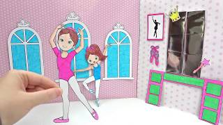 PAPER DOLL BALLERINA & GLITTER DRESSES ACCESSORIES & BABY BALLERINA HOW TO DRAW PAPERCRAFT