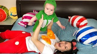 Baby playing with a lot of CANDY Balloons Funny video for kids JoyJoy Lika