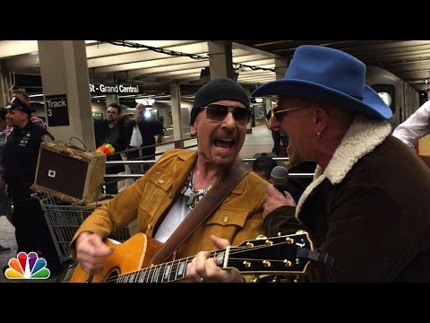 U2 - U2 Busks in NYC Subway in Disguise