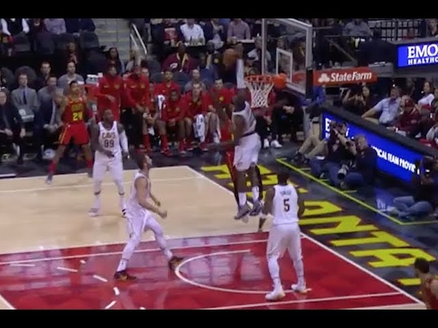 LeBron James Spikes Down Shot by Hawks' Taurean Prince