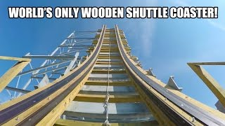 Switchback Wooden Shuttle Roller Coaster REAL POV 60FPS ZDT's Amusement Park Texas