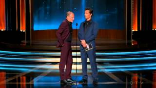 Woody Harrelson and Matthew McConaughey accept the Emmy Award on behalf of Benedict Cumberbatch 2014