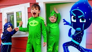 PJ Masks Night Ninja Plays In GIANT Playhouse Pretend Play!