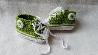 Crocheting baby shoes - Sneakers for babies with subtitles Part 2/5 by BerlinCrochet
