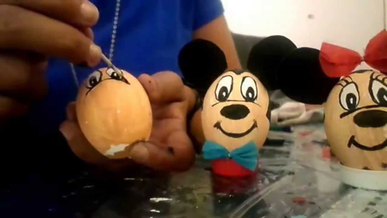 Minnei y mickey mouse en huevo decorado  YouTube