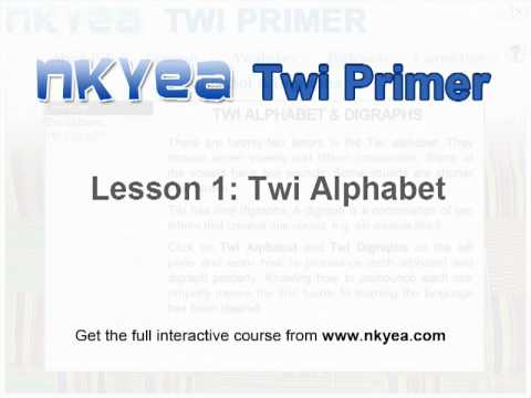 Learn the Twi Alphabet with this video lesson from Nkyea Twi Primer Twi language course. To get the whole interactive course visit http://www.nkyea.com.