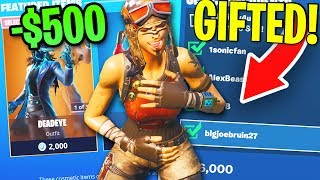 Gifting Skins to Fans EVERY TIME I Get ELIMINATED in Fortnite (So much $)
