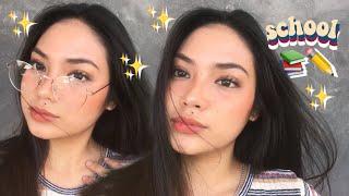 school makeup routine! DRUGSTORE +for eyeglasses wearers! (philippines)