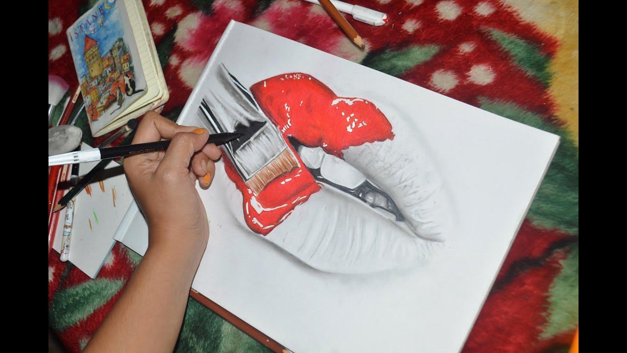lips smoke drawing
