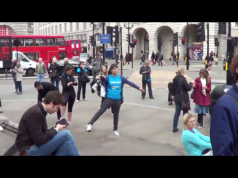 Parkinson's Awareness Week freeze flash mob in Piccadilly, London