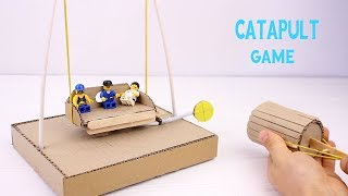 How to Make Catapult Game from Cardboard For Kids | Diy kids
