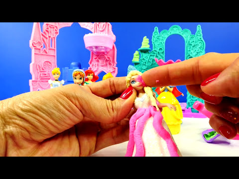 Play Doh Ariel's Undersea Castle Frozen Elsa Anna Magiclip Playdough Mix n' Match Disney Dolls
