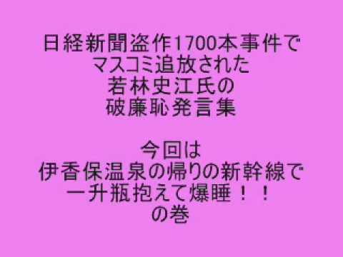 若林史江 伊香保温泉の帰りの新幹線で一升瓶抱えて爆睡!!