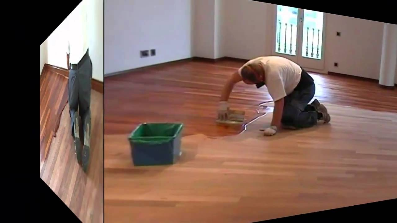 Lijar barnizar parquet de con bona system - Como barnizar madera ...