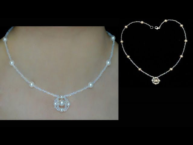 Easy DIY Tutorial: How to Make a Beautiful Pearl Beading Necklace with Pendant Using White Pearls