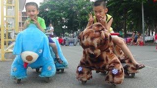 Trò Chơi Bé Đức đi Xe thú cưỡi chạy bằng điện cho trẻ em ♥ Animal Cars Toys Ride-On