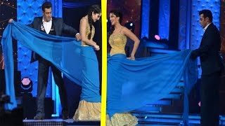 Salman Khan Helps Sunny Leone Drape And Remove Saree   Star Guild Awards  