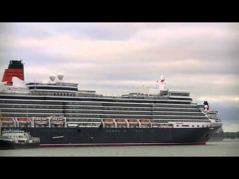 Dawn arrivals of Aurora, Queen Elizabeth, QV & Grand Mistral Southampton 15/05/13.