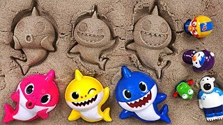 Pinkfong Shark family sand Play set! Let's play fun sand with the baby shark, Pororo - PinkyPopTOY