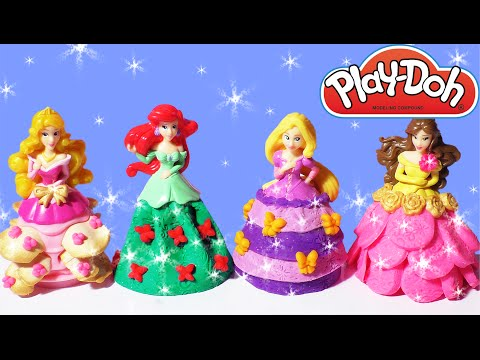 Play Doh Sparkle Princess Dress Disney Ariel Rapunzel Belle Aurora Playdough Playdoh Barbie Games