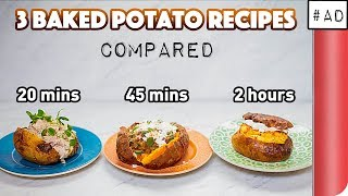 3 Baked Potato Recipes Compared (20 mins vs 45 mins vs 2 hours!?)