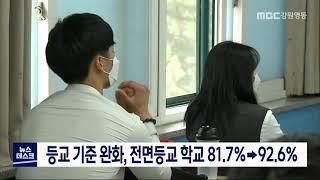 도내 전면등교 학교 81.7% → 92.6%