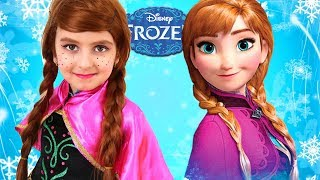 Kids Makeup Frozen Anna with Colours Paint. Baby DRESS UP & Play with Toys
