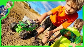 Monster Trucks For Children Epic Sand Ramp!