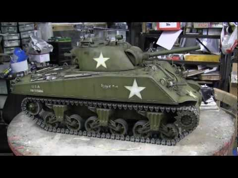 RC 1/6th scale Vantex M4A3 sherman tank project completion HD video part 1
