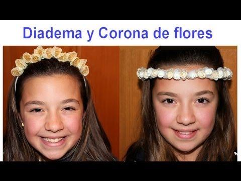 Corona de flores y diadema ideal para comuni n o boda - Coronas de flore ...