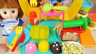 Baby doll and play doh Ice cream and food kitchen play baby Doli house