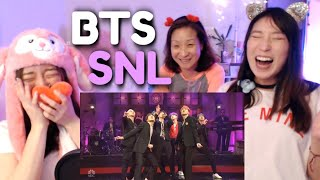 BTS - Boy With Luv (SNL LIVE) KOREAN MOM & DAUGHTERS REACTION + Mic Drop Performance