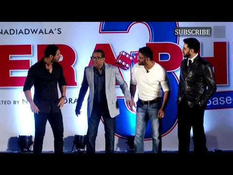 Abhishek Bachchan, John Abraham, Paresh Rawal, Suniel Shetty at the launch of Hera Pheri 3 | Part 1