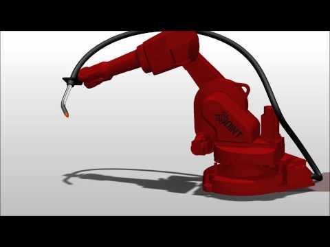 Robot przemysłowy przystosowany do spawania MIG