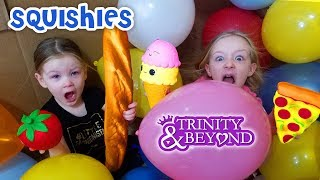 Stair Slide Challenge Into Balloons! Squishy Food Scavenger Toy Treasure Hunt!!!