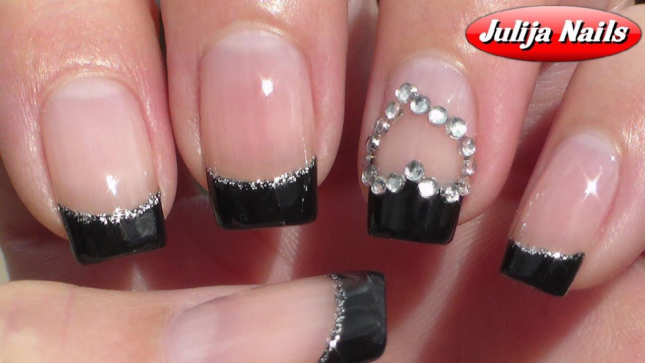 Френч на ногтях черного цвета фото