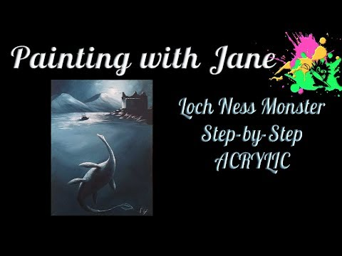 Loch Ness Monster Step by Step Acrylic Painting on Canvas for Beginners
