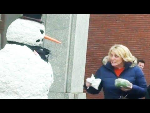 Scary Snowman Halloween Scare Prank 2014