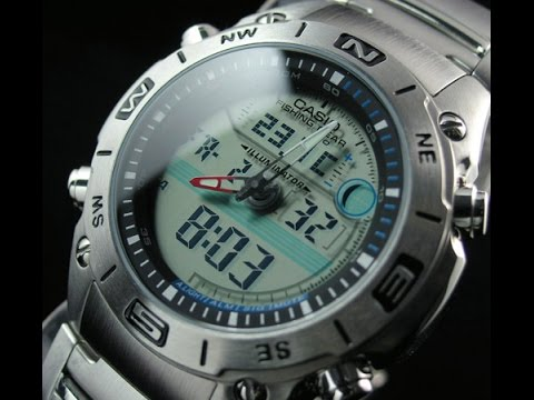 Casio fishing gear thermometer moon watch model amw 702d for Casio pathfinder fishing watch