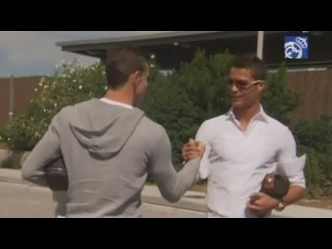 Gareth Bale with Cristiano Ronaldo on first day of training at Real Madrid