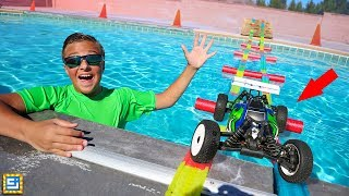 GIANT MAGIC TRACKS RC CAR SWIMMING POOL BRIDGE ADVENTURE!